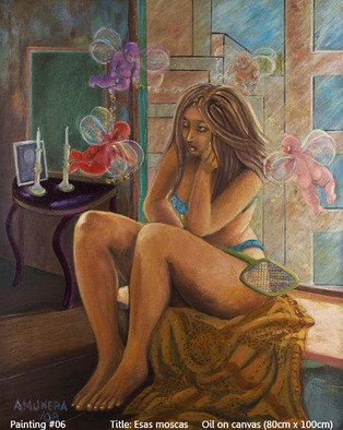 Armand Munera; Esas Moscas, 2008, Original Painting Oil, 80 x 100 cm. Artwork description: 241   Cupids pester a young woman, as flies do.  ...