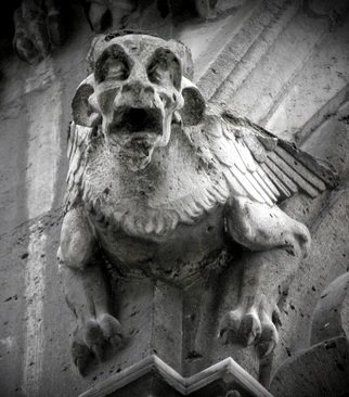 Armand Munera; Gargoyle, 2000, Original Photography Black and White, 19 x 13 inches. Artwork description: 241  Looking down and up to Notre Damme ...