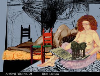 Armand Munera; Lectura, 2009, Original Printmaking Giclee, 18 x 25 inches. Artwork description: 241  A woman reads a tale in silence as her mate sleeps, or perhaps she dreams this man. ...