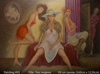 Armand Munera; Three Women, 2008, Original Painting Oil, 160 x 100 cm. Artwork description: 241  Three women seem to pose for the artist. The models are reflected in the round mirror. ...