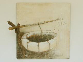 Munyaradzi Mazarire; Well, 2004, Original Mixed Media, 97 x 97 cm. Artwork description: 241 The well is a fusion of 3 dimensional elements protruding from a painted wooden board and engraving. The artwork is a depiction of a common arrangement of an instrument for drawing water from a well. ...