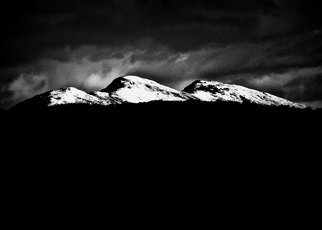 Maciej Wysocki; Irish Mountains In The Snow, 2017, Original Photography Black and White, 297 x 420 mm. Artwork description: 241 Ireland, mountains, snow, Donegal, night...