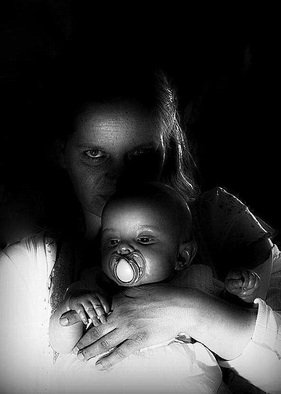 Maciej Wysocki; Motherhood In Black, 2011, Original Photography Black and White, 30 x 42 cm. Artwork description: 241 motherhood , mom, daughter, child, love, care...