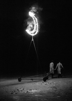 Maciej Wysocki; The Two Who Stole The Moon, 2014, Original Photography Black and White, 30 x 42 cm. Artwork description: 241 moon, night, theft, two men...