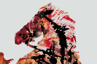 Michael Weatherly; Fire Horse, 2012, Original Printmaking Monoprint, 9 x 12 inches.