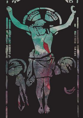 Michael Weatherly; On The Cross, 2012, Original Printmaking Monoprint, 10 x 13 inches.