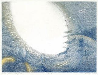 Naima Neidre; On The Border Of The Blue, 1995, Original Printmaking Etching, 64 x 48 cm.