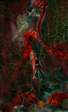 Nancy Ungar; Lacuna, 2011, Original Digital Art,   inches. Artwork description: 241   Lifelike shackles, pulsing with blood, read up to grab the Golden Girl, as, hands tied, she strives to reach the surface of the water and breath again.   ...