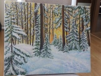 Anastasia Prisacari; Winter, 2018, Original Painting Acrylic, 50 x 40 cm. Artwork description: 241 It s about the forests in Moldova. ...
