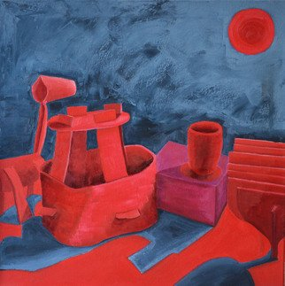 Natalia Sofyina; Still Life In Red, 2013, Original Painting Oil, 24 x 24 inches. Artwork description: 241  still life, abstract, surreal, boat, ship, horse, cube, cup, sun, red, blue, oil painting, oil on canvas, original, composition, painting, canvas, modern, lyrical , figurative, color, surrealism...
