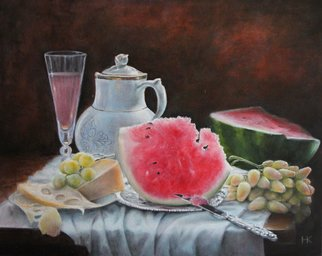 Nataly Kartseva; Still Life With Watermelon, 2017, Original Painting Oil, 50 x 40 cm. Artwork description: 241 watermelon, oil, canvas...