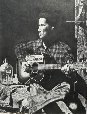 Charles  Rogers; Woody Guthrie This Machin..., 2013, Original Drawing Charcoal, 17 x 23 inches. Artwork description: 241  This is a charcoal on paper drawing of Woody Guthrie with the words, This Machine Kills Fascists, which he placed on his guitar during WWII to let people know he was fighting Nazism with his music. ...
