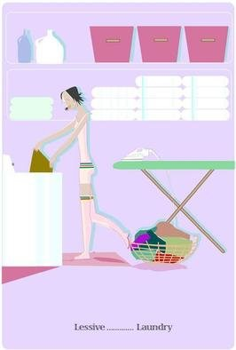 Nathalie Choupay; Laundry, 2012, Original Illustration, 8.5 x 10.5 inches. Artwork description: 241  House wife doing house work. Illustration digital. ...