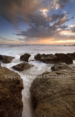 Dennis Chamberlain; El Matador Beach Sunset II, 2013, Original Photography Color, 20 x 13 inches. Artwork description: 241          Sea, seascapes, sunset, ocean, pacific coast, California beaches, El Matador Beach, Malibu, nature, landscape, water, waves, slow shutter, rocks, clouds         ...