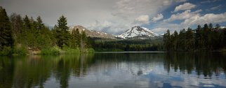 Dennis Chamberlain; Mt  Lassen at Manzanita Lake, 2016, Original Photography Color, 24 x 9 inches. Artwork description: 241 Mt. Lassen at Manzanita Lake in northern California.  Print has 1 inch white boarder.  It is signed and numbered in boarder. ...