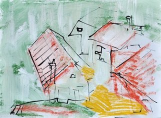 Martin Navratil; Homes, 2011, Original Mixed Media, 45 x 33 cm. Artwork description: 241 Yellow passe- partout 40x50 cm, Tempera, Ink, Latex, Acrylic, Paper, Roof, Landscape, Homes, Expresive, Painting  ...