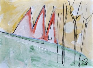 Martin Navratil; Roofs, 2011, Original Mixed Media, 45 x 33 cm. Artwork description: 241 Yellow passe- partout 40x50 cm, Tempera, Ink, Latex, Acrylic, Paper, Roof, Landscape, Country, Painting ...
