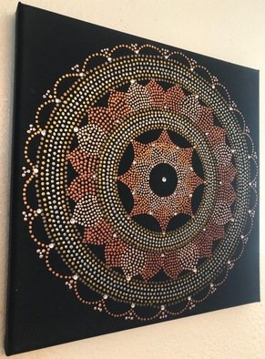 Nicole Beutell; Mandala1, 2019, Original Painting Acrylic, 12 x 12 inches. Artwork description: 241 I enjoy dotting and mandalas so I combined the two.  I also like look of the metallic acrylics and sometimes adding some sparkle by using Swarovski rhinestones ...