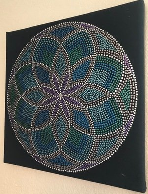 Nicole Beutell; Mandala2, 2019, Original Painting Acrylic, 12 x 12 inches. Artwork description: 241 I enjoy dotting and mandalas so I combined the two.  I also like look of the metallic acrylics because the way it appears to change with different lighting conditions. ...