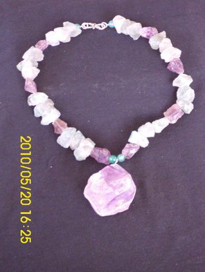 Mercedes Morgana Reyes; Morgan Le Fay, 2011, Original Jewelry,   inches. Artwork description: 241   this piece has rough green fluorite, and amethyst a large rough amethyst center      ...