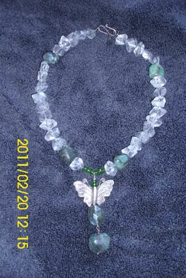 Mercedes Morgana Reyes; Psyche, 2011, Original Jewelry, 18 x  inches. Artwork description: 241   this piece has rock crystal from Maine, raw emeralds fluorite and peridot, also has a handmade sterling butterfly    ...