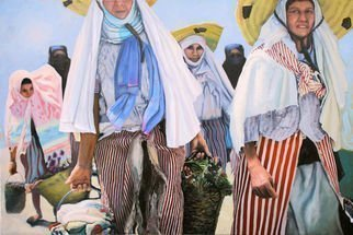 Richard Barone; Carriers, 2016, Original Painting Oil, 54 x 36 inches. Artwork description: 241 Muslim women carrying goods home from market, Tangiers, Morocco...