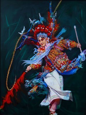 Richard Barone; Dan Chinese Opera, 2017, Original Painting Oil, 28 x 36 inches. Artwork description: 241 Dan is the general name for female roles in Chinese opera, often referring to leading roles. They may be played by either actors or actresses.Exaggerated paints on opera performer s face which ancient warriors decorated themselves to scare the enemy are used in the opera  each ...
