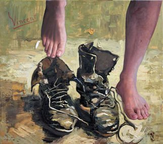 Richard Barone; Peasant Shoes My Foot, 2015, Original Painting Oil, 34 x 30 inches. Artwork description: 241 There have been various interpretations of Van Gogh s painting Old Shoes. The most famous is German philosopher Martin Heidegger s essay  The Origin of the Work of Art.  He interpreted the shoes as belonging to a peasant woman thus supporting his philosophy of Dasein. Meyer Schapiro ...