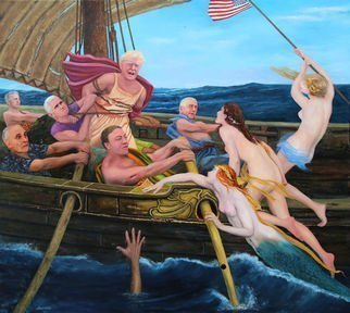 Richard Barone; Uss Donald Trump, 2018, Original Painting Oil, 48 x 43 inches. Artwork description: 241 President Donald Trump as Ulysses braves the song of the Sirens, while Vice President Mike Pence ties Trump to the mast, and Secretary of State Mike Pompeo, Trump s attorney Rudy Giuliani, Secretary of Defense Jim Mattis, and Supreme Court Judge Neil Gorsuch with ears plugged so ...