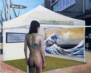 Richard Barone; View Of Mt Fuji From West St, 2019, Original Painting Oil, 60 x 48 inches. Artwork description: 241 The Great Wave off Kanagawa  1832  by Hokusai is considered to be the greatest of all Japanese art prints. Here it is depicted as a large painting in an art show. A woman with a tattoo of Mt. Fuji on her back, an image she cannot see ...