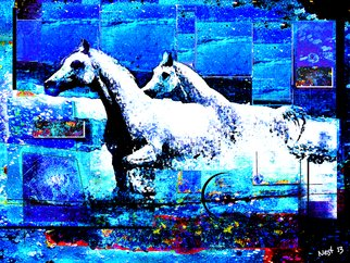 Nest Lopes; Horses From The Azure, 2013, Original Digital Painting, 80 x 60 cm. Artwork description: 241  From the series,