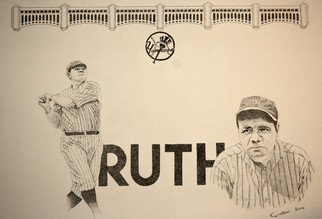 Louis Quattrini; Babe Ruth, 2006, Original Drawing Pen, 11 x 17 inches. Artwork description: 241  Pen and Ink drawing of Ruth ...
