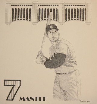 Louis Quattrini; Mickey Mantle, 2005, Original Drawing Pen, 14 x 16 inches. Artwork description: 241  Pen and Ink of the Mick ...