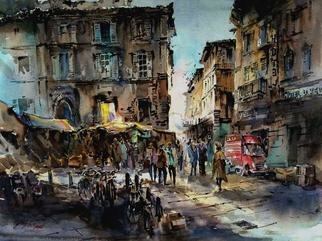 Singapore Watercolour Society Artist Ng Woon Lam; Hotel Lorena Florence Italy, 2005, Original Watercolor, 28 x 21 inches. Artwork description: 241 Dominated by cold colors to express winter in Florence City...