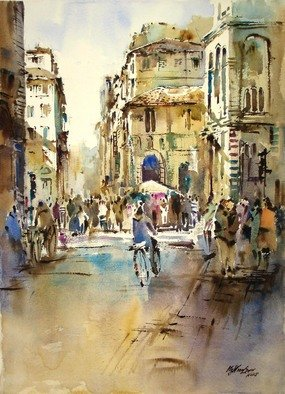 Singapore Watercolour Society Artist Ng Woon Lam; Modern Impressionist Wate..., 2005, Original Watercolor, 29 x 21 inches. Artwork description: 241  Morning Sunshine, Duomo Florence ...