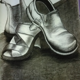 Nicole Brennan, , , Original Drawing Charcoal, size_width{shoes-1522386156.jpg} X 23 inches