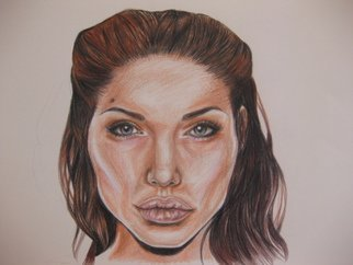 Nicole Pereira; Angelina Jolie, 2014, Original Drawing Pencil, 17 x 14 inches. Artwork description: 241        Angelina Jolie Celebrity Portrait. Colored Pencil Drawing.        ...