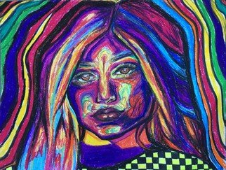 Nicole Pereira; Kylie Jenner Psych Portrait, 2017, Original Drawing Pastel, 12 x 9 inches. Artwork description: 241 Psychedelic Portrait of Celebrity Kylie Jenner by Nicole Pereira...