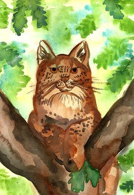 Niina Niskanen; Lynx, 2015, Original Watercolor, 21 x 29 cm. Artwork description: 241 I find lynxes one of the most gorgeous animals among big cats and felines.This individual peacefully watches over his her environment on the top of the tree.In both native american and Siberian shamanistic mysticism Lynx is believed to be one of those animals that holds ...
