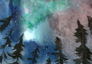 Niina Niskanen; Northern Lights, 2015, Original Watercolor, 29 x 21 cm. Artwork description: 241 Northern Lights are some of the most magical phenomenons happening in the night sky. With this painting I tried to capture all that magic and wonder that surrounds them.Signed by  me, the artistPacked with great love and care.Painted with watercolors and acrylics on cold ...