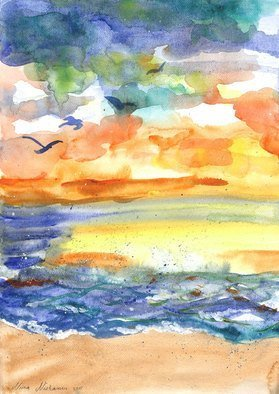 Niina Niskanen; Playful Sea, 2015, Original Watercolor, 30 x 42 cm. Artwork description: 241 This is listing for my original painting called  Playful sea . Showing beautiful and inviting beach landscape colored by sunset.Signed by me, the artist.Packed with great love and carePainted with watercolors on cold pressed acid free watercolor paperSize: 30 x 42 cm  A3    12 ...