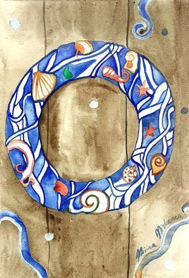 Niina Niskanen; Sea Wreath, 2012, Original Watercolor, 21 x 29 cm. Artwork description: 241 This is listing for my original painting called  Sea wreath . Showing a beautiful detailed nautical sea wreath. Would be lovely art for anyone who enjoys nautical subjects.Size of the painting: 20 x 29 cm   8 x 11 inPainted with watercolors on cold pressed watercolor paper...