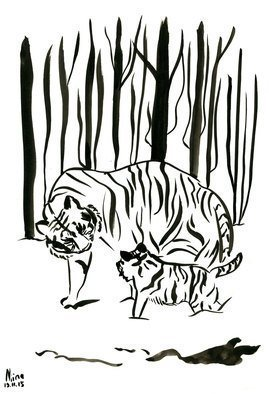 Niina Niskanen; Tigers In The Woods, 2016, Original Painting Ink, 21 x 29 cm. Artwork description: 241 Mother and Baby tiger together in the snowy forest. Tigers are compassionate animals and very much loyal to each other.Size of the painting 20 x 29. 5 cm   7,8 x 11. 5 inPainted with Indian ink on cold pressed acid free watercolor paper.Signed by ...