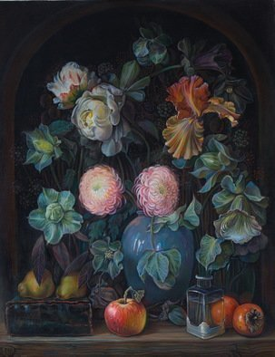 Sergey Lesnikov; Flowers And Fruits, 2019, Original Painting Oil, 85 x 109 cm. Artwork description: 241 Flowers and fruits still life composition, oil on canvas...