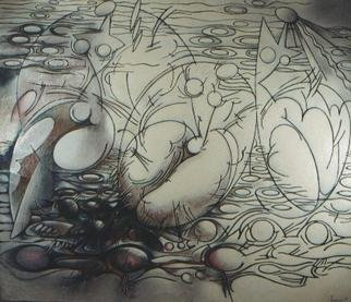 Nikolai Bartossik; Incubation, 1993, Original Painting Oil, 63 x 54 inches.