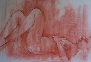 Nicole M. Mathieu; Lying On The Back, 2004, Original Drawing Other, 65 x 50 cm. Artwork description: 241  naked French young woman lying on her back done with sanguine ( red chalk) on white canson paper.                        ...