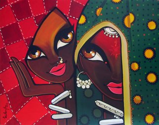 Niloufer Wadia; Friends, 2012, Original Painting Acrylic, 25 x 20 inches. Artwork description: 241  2 tribal women laughing together. Bright veils add to the graphic shapes in this art      ...
