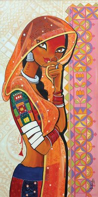 Niloufer Wadia; MOHINI The Enchantress, 2015, Original Painting Acrylic, 24 x 48 inches. Artwork description: 241  A beautiful tribal woman from India, peeking from her veil....