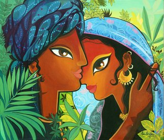 Niloufer Wadia; RENDEZVOUS, 2015, Original Painting Acrylic, 28 x 24 inches. Artwork description: 241  A couple meeting amongst rich foliage. Ethnic India. Pop art. ...