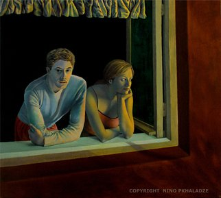 Nino Pkhaladze; Beyond The Window, 2006, Original Painting Oil, 110 x 100 cm. Artwork description: 241  This  painting is build on silence. . . and on dream evidenced in romance. . . Here, the artistical composition creates mysterious intimacy. Having seen this canvas, instantly realize that the silence often has its power, emotion and inexplicable charm. . . This picture is a miniature episode of Nino's life, when ...